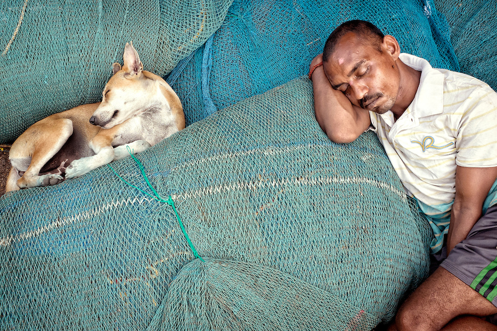 Fisherman sleeping on fishing nets with a dog in Mumbai's harbor.