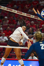 BLOOMINGTON, IL - September 15: Kaylee Martin directs a hit back to the Golden Eagles side of the net during a college Women's volleyball match between the ISU Redbirds and the Marquette Golden Eagles on September 15 2019 at Illinois State University in Normal, IL. (Photo by Alan Look)