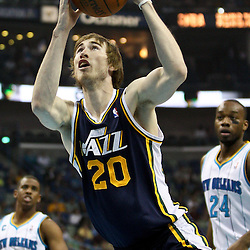 April 11, 2011; New Orleans, LA, USA; Utah Jazz small forward Gordon Hayward (20) against the New Orleans Hornets during the first half at the New Orleans Arena.  Mandatory Credit: Derick E. Hingle