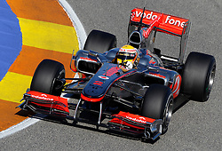 VALENCIA, SPAIN - Tuesday, February 2, 2010: Lewis Hamilton (Vodafone McLaren Mercedes) during testing at the Ricardo Tormo Circuit de la Comunitat Valenciana. (Pic by Juergen Tap/Hoch Zwei/Propaganda)