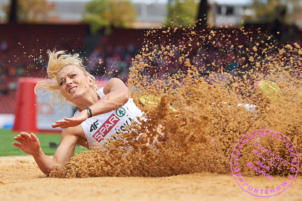 Karolina Tyminska from Poland competes in women's long jump while heptathlon during the Fourth Day of the European Athletics Championships Zurich 2014 at Letzigrund Stadium in Zurich, Switzerland.<br /> <br /> Switzerland, Zurich, August 15, 2014<br /> <br /> Picture also available in RAW (NEF) or TIFF format on special request.<br /> <br /> For editorial use only. Any commercial or promotional use requires permission.<br /> <br /> Photo by &copy; Adam Nurkiewicz / Mediasport