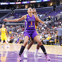 24 August 2014: Phoenix Mercury forward Mistie Bass (8) vies for the rebound with Los Angeles Sparks forward/center Sandrine Gruda (7) during the Phoenix Mercury 93-68 victory over the Los Angeles Sparks, in a Conference Semi-Finals at the Staples Center, Los Angeles, California, USA.