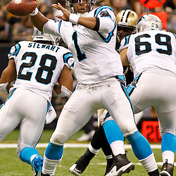 January 1, 2012; New Orleans, LA, USA; Carolina Panthers quarterback Cam Newton (1) against the New Orleans Saints during the second half of a game at the Mercedes-Benz Superdome. The Saints defeated the Panthers 45-17. Mandatory Credit: Derick E. Hingle-US PRESSWIRE