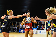Erikana Pedersen of the Tactix is defended by Samantha Sinclair of the Magic and Casey Kopua of the Magic during the ANZ Premiership Netball match, Tactix V Magic, Horncastle Arena, Christchurch, New Zealand, 6th June 2018.Copyright photo: John Davidson / www.photosport.nz