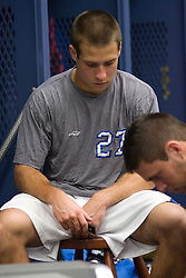 28 May 2007: Duke Blue Devils midfielder Michael Young (27) pregame in the locker room before playing Johns Hopkins in the NCAA Championship at M&T Stadium in Baltimore, MD.
