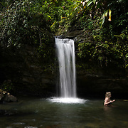 RIO GRANDE, PUERTO RICO -- FEBRUARY 1, 2019: <br /> Visitors to El Yunque National Rain Forest enjoy the waterfall and pond  at the Quebrada Juan Diego (Juan Diego Creek). A few of the rain forest's popular trails and attractions are still not open to the public more that one year after Hurricane Maria's path through Puerto Rico.<br /> (Photo by Angel Valentin)