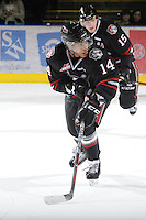 KELOWNA, CANADA - FEBRUARY 18: Charles Inglis #14 of the Red Deer Rebels skates on the ice as the Red Deer Rebels visit the Kelowna Rockets on February 18, 2012 at Prospera Place in Kelowna, British Columbia, Canada (Photo by Marissa Baecker/Shoot the Breeze) *** Local Caption ***