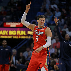 Apr 11, 2018; New Orleans, LA, USA; New Orleans Pelicans forward Nikola Mirotic (3) celebrates after a three point basket against the San Antonio Spurs during the first quarter at the Smoothie King Center. Mandatory Credit: Derick E. Hingle-USA TODAY Sports