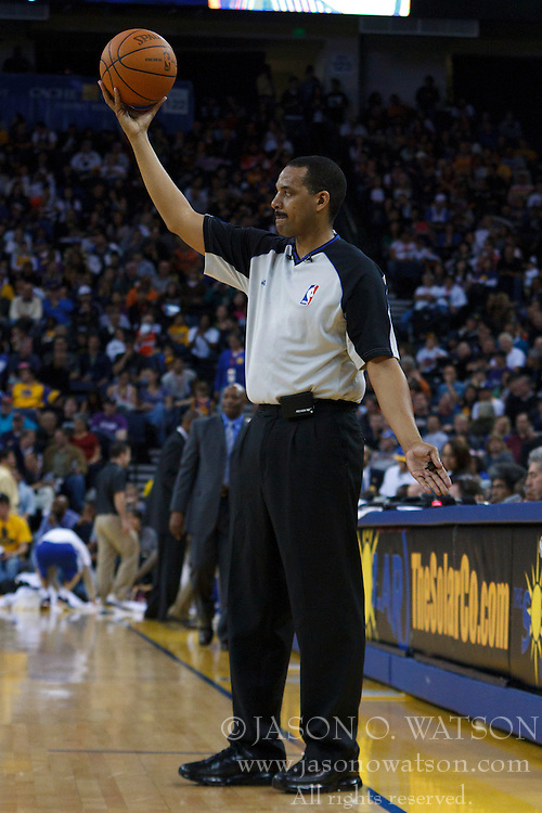 April 10, 2011; Oakland, CA, USA;  NBA referee Bennie Adams (47)during the second quarter between the Golden State Warriors and the Sacramento Kings at Oracle Arena. Sacramento defeated Golden State 104-103.