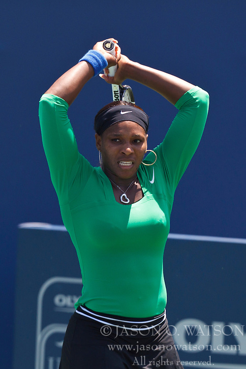 July 31, 2011; Stanford, CA, USA;  Serena Williams (USA) reacts after a point against Marion Bartoli (FRA), not pictured, during the finals of the Bank of the West Classic women's tennis tournament at the Taube Family Tennis Stadium. Williams defeated Bartoli 7-5, 6-1.