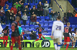 BIRKENHEAD, ENGLAND - Saturday, January 3, 2015: Swansea City's Tom Carroll celebrates scoring the second goal against Tranmere Rovers during the FA Cup 3rd Round match at Prenton Park. (Pic by David Rawcliffe/Propaganda)