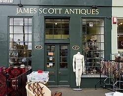 Antiques shop  in New Town district of Edinburgh, Scotland, United Kingdom