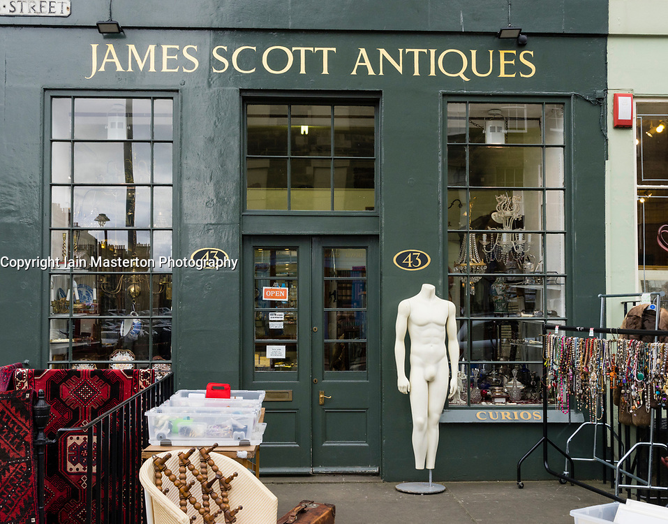 Antiques shop  in New Town district of Edinburgh, Scotland, United Kingdom