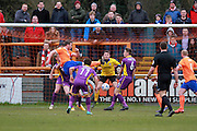 Braintree have an early shot at goal during the Vanarama National League match between Braintree Town and Cheltenham Town at the Amlin Stadium, Braintree, United Kingdom on 19 March 2016. Photo by Carl Hewlett