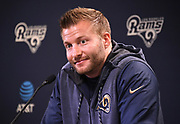 Los Angeles Rams coach Sean McVay speaks at press conference at Cal Lutheran.
