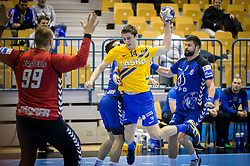 Urh Kastelic of Zagreb vs Matic Groselj of Celje during handball match between RK Celje Pivovarna Lasko and RK Zagreb PPD in Round #13 of SEHA Gazprom League 2017/18, on February 4, 2018 in Arena Zlatorog, Celje, Slovenia. Photo by Vid Ponikvar / Sportida