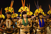 Yawalapiti women, from Xingu, dancing during the Indigenous National Festival.
