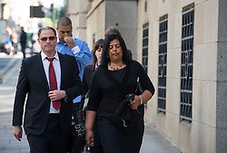© Licensed to London News Pictures. 10/06/2015. London, UK. SUSAN ALEXANDER (right) , mother of Azelle Rodney arriving at court in London where former Met specialist firearms officer Anthony Long is due to stand trial accused of murdering Azelle Rodney in April 2005. Rodney died after officers stopped the car he was travelling in with two other men in Edgware, north London. Photo credit: Ben Cawthra/LNP