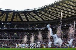 Pyrotechnics are set off as the London Irish players take their place on the field before the start of the match - Photo mandatory by-line: Rogan Thomson/JMP - Tel: Mobile: 07966 386802 29/12/2012 - SPORT - RUGBY - Twickenham Stadium - London. Harlequins v London Irish - Aviva Premiership - LV= Big Game 5.