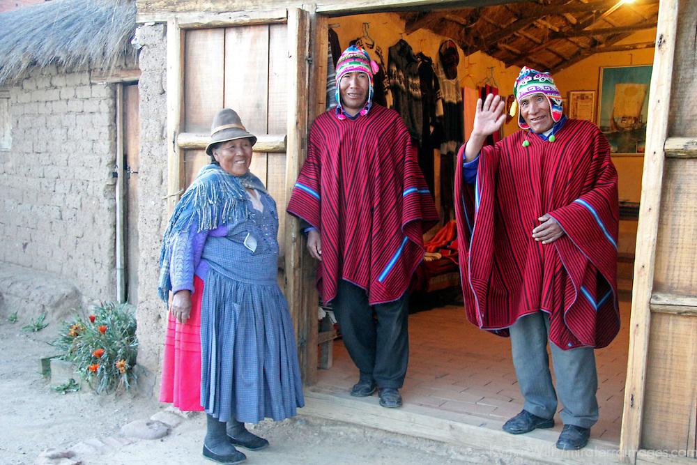 South America, Bolivia, Huatajata. The Limachi family at Inca Utama.