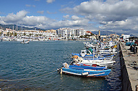 Fishing boats, quay, marina, Mediterranean, Mediterraneo, Estepona, Malaga, Andalucia, Andalusia, Spain, Espana, Costa del Sol, tourism, travel, holidays, 201302201128..Copyright Image from Victor Patterson, 54 Dorchester Park, Belfast, UK, BT9 6RJ..Tel: +44 28 9066 1296.Mob: +44 7802 353836.Voicemail +44 20 8816 7153.Skype: victorpattersonbelfast.Email: victorpatterson@me.com.Email: victorpatterson@ireland.com (back-up)..IMPORTANT: If you wish to use this image or any other of my images please go to www.victorpatterson.com and click on the Terms & Conditions. Then contact me by email or phone with the reference number(s) of the image(s) concerned.