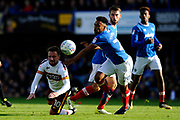 Paul Taylor (10) of Bradford City is fouled by Nathan Thompson (20) of Portsmouth during the EFL Sky Bet League 1 match between Portsmouth and Bradford City at Fratton Park, Portsmouth, England on 28 October 2017. Photo by Graham Hunt.