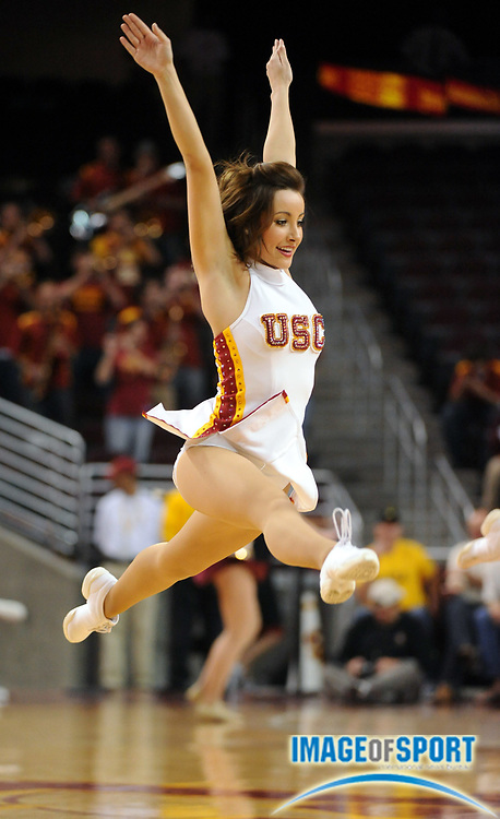 Jan 2, 2010, Los Angeles, CA, USA; A cheerleader of the Southern California Trojans performs during the game against the Arizona State Sun Devils at the Galen Center.