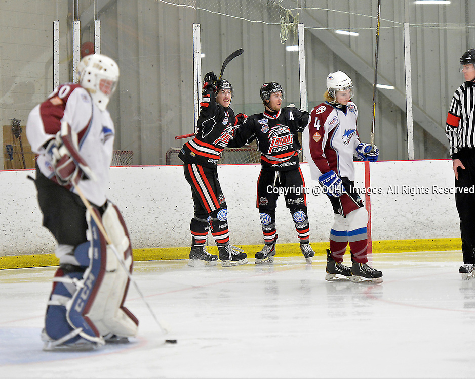 FORT FRANCES, ON - Apr 28, 2015 : Central Canadian Junior &quot;A&quot; Championship, game action between the Soo Thunderbirds and the Dryden GM Ice Dogs, game one of the Dudley Hewitt Cup. Devin Shell #16 celebrates the goal by teammate Brett Jefferies #23 of the Soo Thunderbirds during the first period.<br /> (Photo by Shawn Muir / OJHL Images)