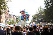 BROOKLYN, NY - SEPTEMBER 30, 2012: Balloons hover above the crowd at Atlantic Antic, the annual street festival in Downtown Brooklyn. CREDIT: Clay Williams.<br />