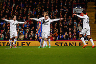 Wayne Rooney of Manchester United (centre) celebrates scoring his team's second goal during the Barclays Premier League match at Selhurst Park, London<br /> Picture by David Horn/Focus Images Ltd +44 7545 970036<br /> 22/02/2014