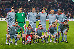 EINDHOVEN, THE NETHERLANDS - Tuesday, December 9, 2008: Liverpool players line-up for a team-group photo before the final UEFA Champions League Group D match against PSV Eindhoven at the Philips Stadium. Back row L-R: Albert Riera, goalkeeper Diego Cavalieri, David Ngog, Daniel Agger, Andrea Dossena, Ryan Babel. Front row L-R: Alvaro Arbeloa, Jamie Carragher, Robbie Keane, Lucas Leiva, Javier Mascherano. (Photo by David Rawcliffe/Propaganda)