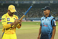 Chennai Super Kings captain MS Dhoni and Titans captain Henry Davids sign the MCC Spirit of cricket Bat during match 3 of the Karbonn Smart Champions League T20 (CLT20) 2013  between The Chennai Superkings and the Titans held at the JSCA International Cricket Stadium, Ranchi on the 22nd September 2013<br /> <br /> Photo by Ron Gaunt-CLT20-SPORTZPICS  <br /> <br /> Use of this image is subject to the terms and conditions as outlined by the CLT20. These terms can be found by following this link:<br /> <br /> http://sportzpics.photoshelter.com/image/I0000NmDchxxGVv4