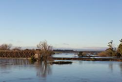 Flood waters lap at Longford's railway bridge in the June 2016 floods.
