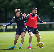 Dundee&rsquo;s Randy Wolters holds off Lewis Spence -  Dundee FC - Pre-season training at University Grounds, Riverside, Dundee, Photo: David Young<br /> <br />  - &copy; David Young - www.davidyoungphoto.co.uk - email: davidyoungphoto@gmail.com