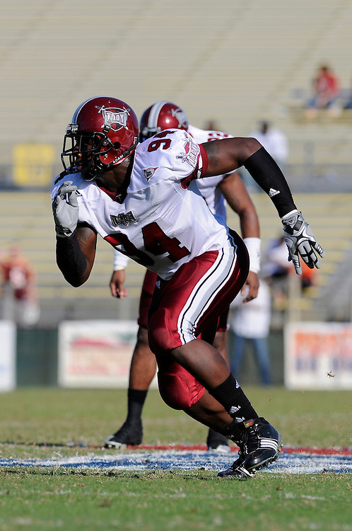 December 4, 2010: Jonathan Massaquoi of the Troy Trojans in action during the NCAA football game between Troy and the Florida Atlantic Owls. The Trojans defeated the Owls 44-7.