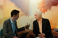 Garden City, New York, U.S. June 6, 2019. Apollo 9 astronaut RUSTY SCHWEICKART is interviewed in front of mural of Apollo 11 launch, during Cradle of Aviation Museum's Apollo Astronauts Press Conference during its day of events celebrating 50th Anniversary of Apollo 11.