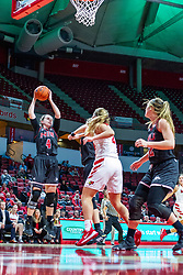 NORMAL, IL - November 20: Courtney Woods grabs a board during a college women's basketball game between the ISU Redbirds and the Huskies of Northern Illinois November 20 2019 at Redbird Arena in Normal, IL. (Photo by Alan Look)