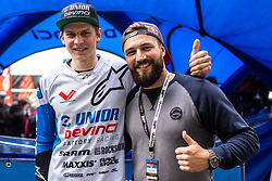 Jure Zabjek with Filip Flisar after Mercedes-Benz UCI Mountain Bike World Cup competition final day in Bike Park Pohorje, Maribor on 28th of April, 2019, Slovenia.  . Photo by Grega Valancic / Sportida