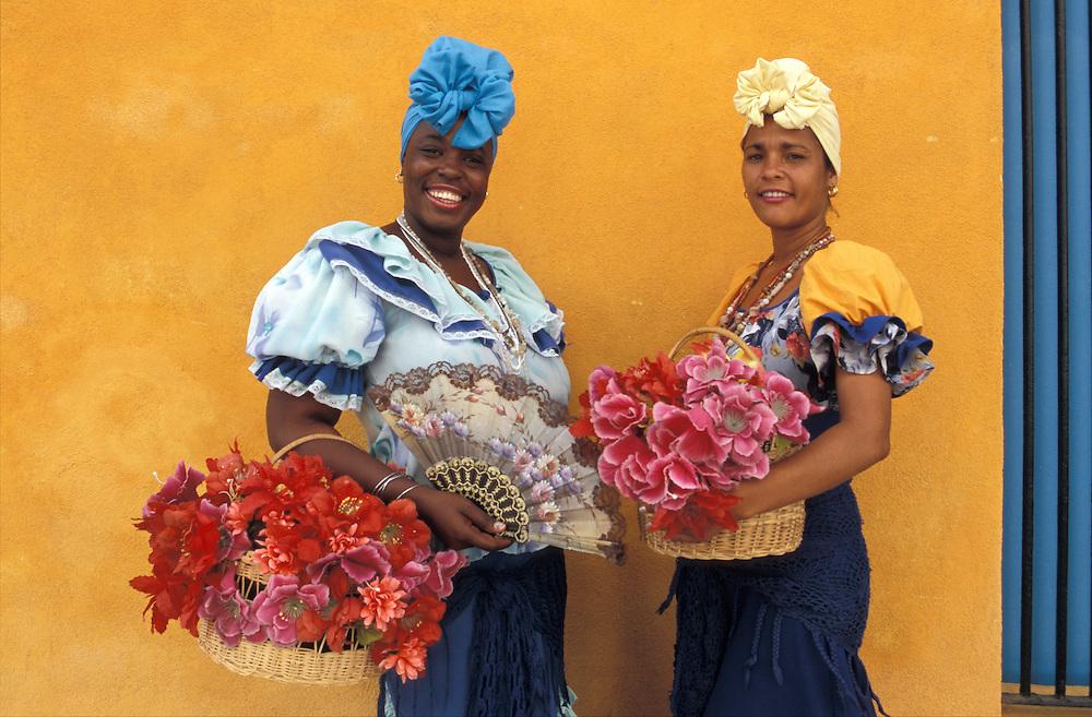 Women with flowers in Habana Vieja,  La Habana, Havana, Cuba, Caribbean