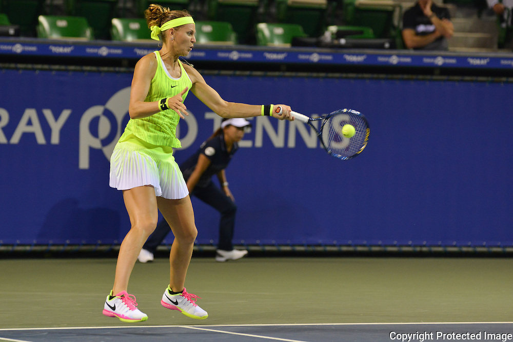 SEPTEMBER 20: Dominika Cibulkova of Slovakia competes against  Lucie Safarova of Czech Repuplic during women's singles match day two of the Toray Pan Pacific Open at Ariake Colosseum on September 20, 2016 in Tokyo, Japan 20/09/2016-Tokyo, JAPAN