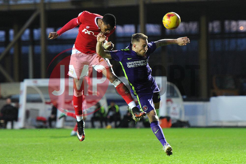 Jonathan Kodjia of Bristol City heads towards goal - Mandatory byline: Dougie Allward/JMP - 07966 386802 - 26/12/2015 - FOOTBALL - Ashton Gate - Bristol, England - Bristol City v Charlton Athletic - Sky Bet Championship