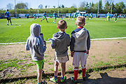 Young fans watching the players warm up during the Vanarama National League match between Forest Green Rovers and Maidstone United at the New Lawn, Forest Green, United Kingdom on 22 April 2017. Photo by Shane Healey.