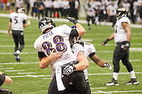 3 February 2013: Tight end (88) Dennis Pitta of the Baltimore Ravens is congratulated by teammates after scoring a touchdown against the San Francisco 49ers during the first half of the Ravens 34-31 victory over the 49ers in Superbowl XLVII at the Mercedes-Benz Superdome in New Orleans, LA.