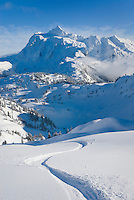 Snowboard track leading down from Herman Saddle, Mount Baker Wilderness Washington