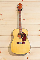 Steel-string acoustic guitar on wood grain wall
