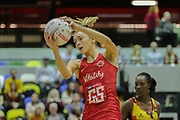 England Women GS Helen Housby during the Netball World Cup 2019 Preparation match between England Women and Uganda at Copper Box Arena, Queen Elizabeth Olympic Park, United Kingdom on 30 November 2018.