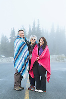 Portrait of family visiting Mt. Rainier National Park, WA.