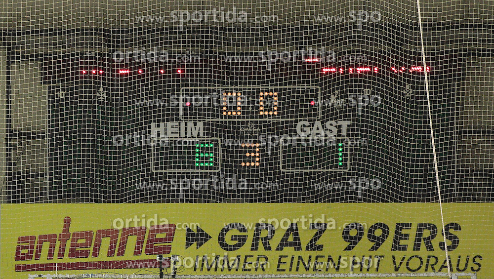 13.11.2013, Eisstadion Liebenau, Graz, AUT, EBEL, Moser Medical Graz 99ers vs SAPA Fehervar AV19, 34. Runde, im Bild die Anzeigentafel mit dem Endergebnis // during the Erste Bank Icehockey League 34th Round match between Moser Medical Graz 99ers and SAPA Fehervar AV19 at the Ice Stadium Liebenau, Graz, Austria on 2013/11/13, EXPA Pictures © 2013, PhotoCredit: EXPA/ Erwin Scheriau