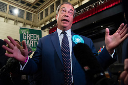 © Licensed to London News Pictures. 27/05/2019. London, UK. British Brexit party leader Nigel Farage speaks to the media at the O2 Guildhall venue after being re-elected at a Member of the European Parliament.   The Brexit Party is expected to do very well in the elections. Photo credit: Ray Tang/LNP