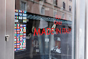 Made in Italy window text with all countries payment method